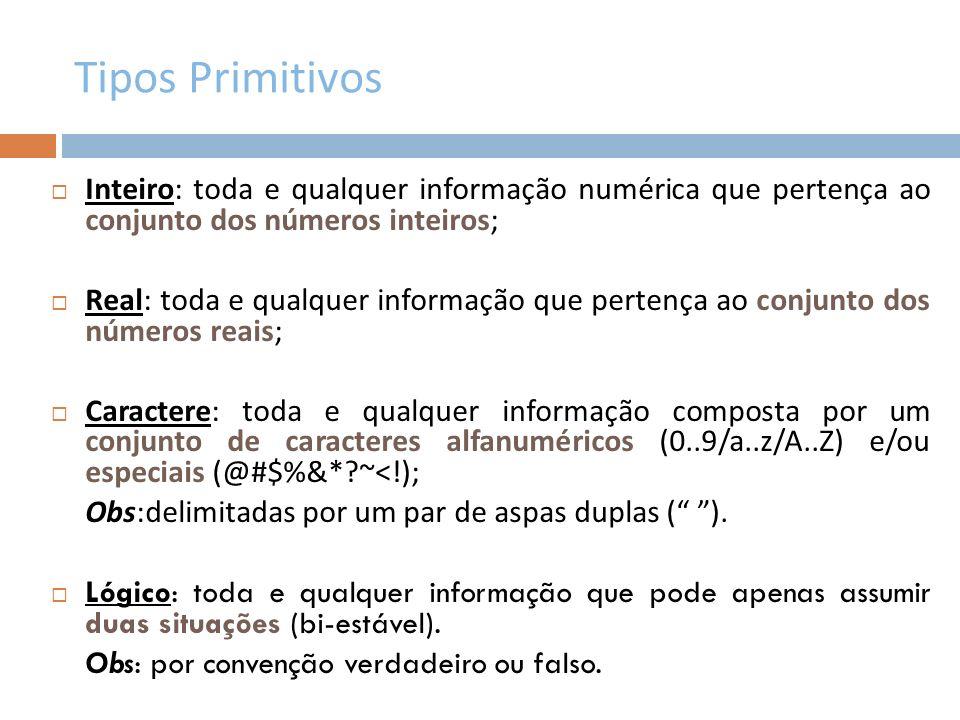 Operadores Aritméticos É o conjunto de símbolos que representa as operações básicas da matemática.