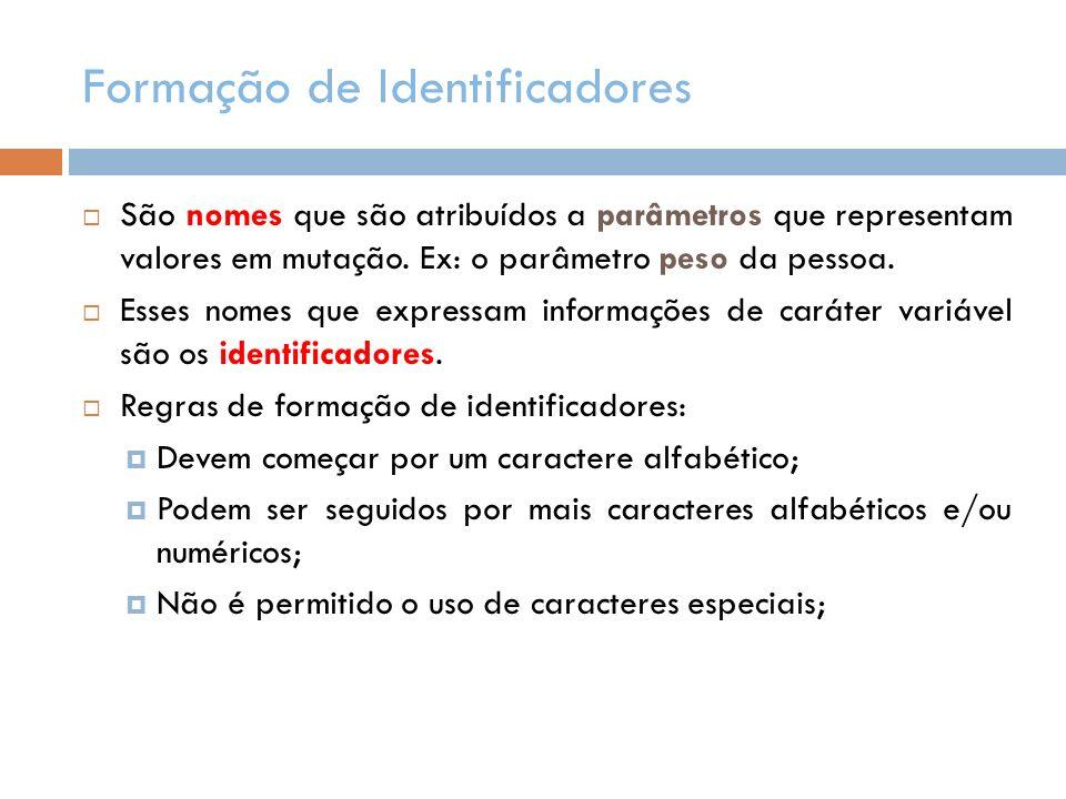 Formação de Identificadores São nomes que são atribuídos a parâmetros que representam valores em mutação. Ex: o parâmetro peso da pessoa. Esses nomes