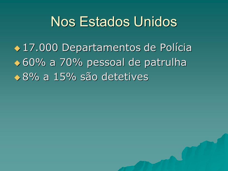Nos Estados Unidos 17.000 Departamentos de Polícia 17.000 Departamentos de Polícia 60% a 70% pessoal de patrulha 60% a 70% pessoal de patrulha 8% a 15% são detetives 8% a 15% são detetives