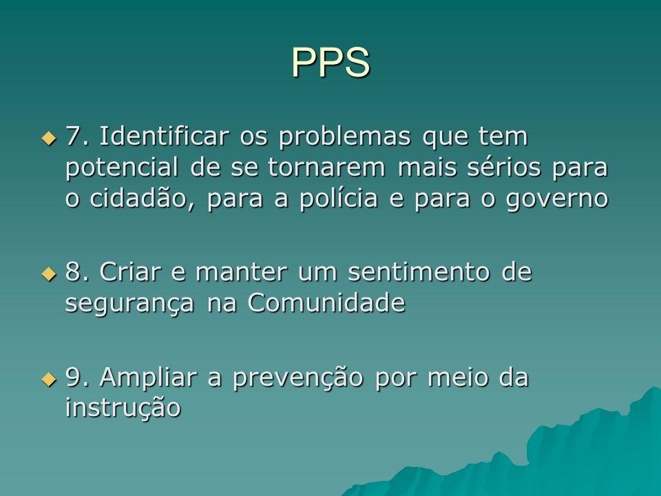 PPS 7. Identificar os problemas que tem potencial de se tornarem mais sérios para o cidadão, para a polícia e para o governo 7. Identificar os problem