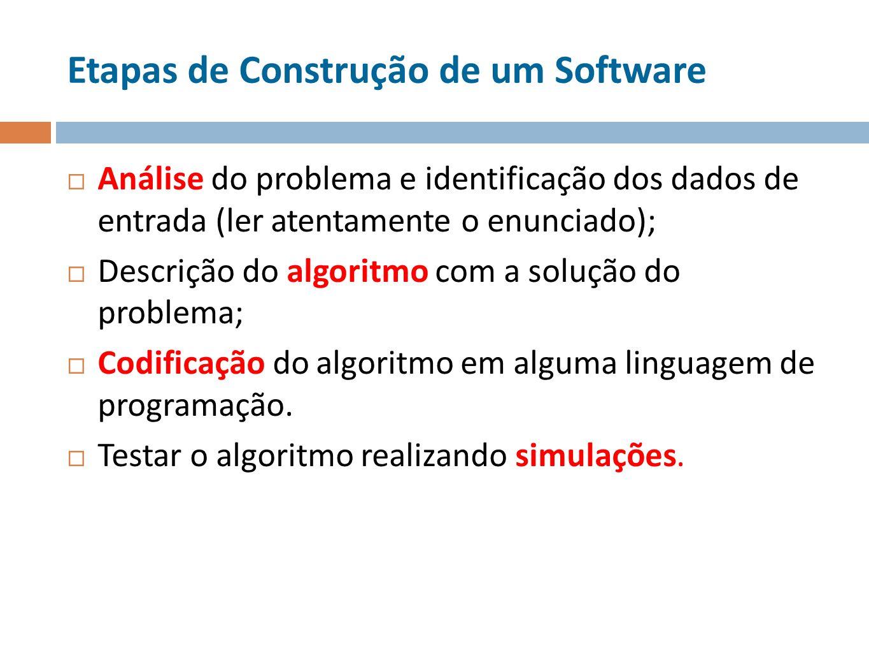 Etapas de Construção de um Software Análise do problema e identificação dos dados de entrada (ler atentamente o enunciado); Descrição do algoritmo com