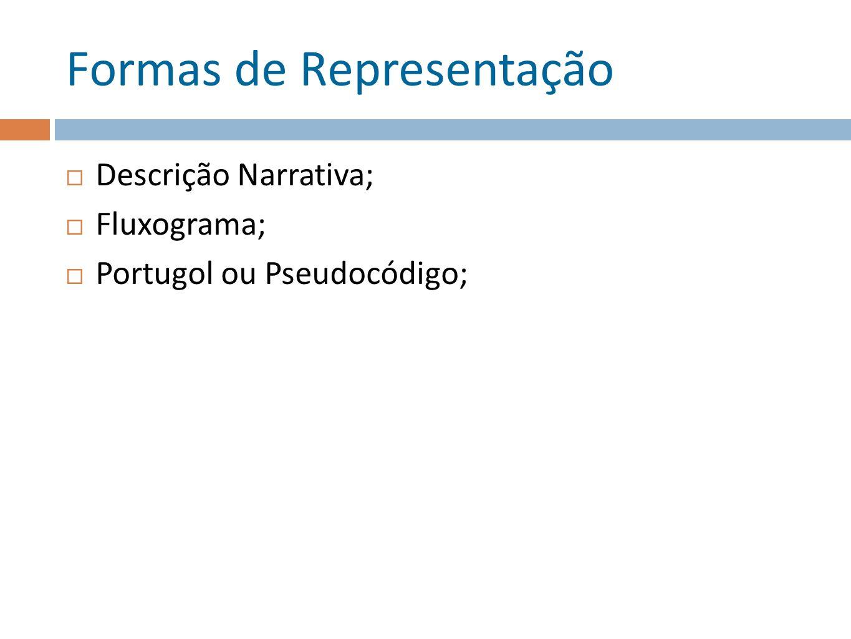 Formas de Representação Descrição Narrativa; Fluxograma; Portugol ou Pseudocódigo;