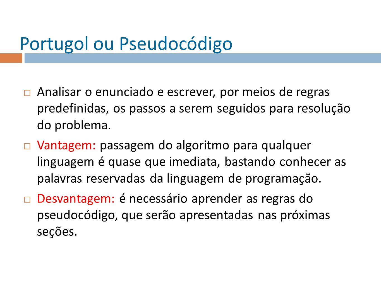 Portugol ou Pseudocódigo Analisar o enunciado e escrever, por meios de regras predefinidas, os passos a serem seguidos para resolução do problema. Van