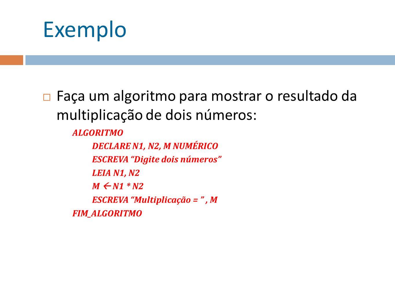 Exemplo Faça um algoritmo para mostrar o resultado da multiplicação de dois números: ALGORITMO DECLARE N1, N2, M NUMÉRICO ESCREVA Digite dois números