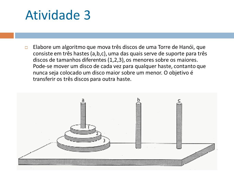 Atividade 3 Elabore um algoritmo que mova três discos de uma Torre de Hanói, que consiste em três hastes (a,b,c), uma das quais serve de suporte para
