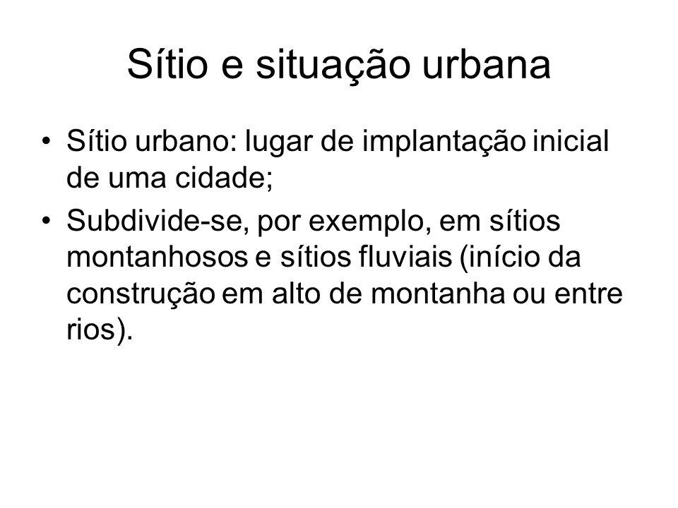 Sítio e situação urbana Sítio urbano: lugar de implantação inicial de uma cidade; Subdivide-se, por exemplo, em sítios montanhosos e sítios fluviais (