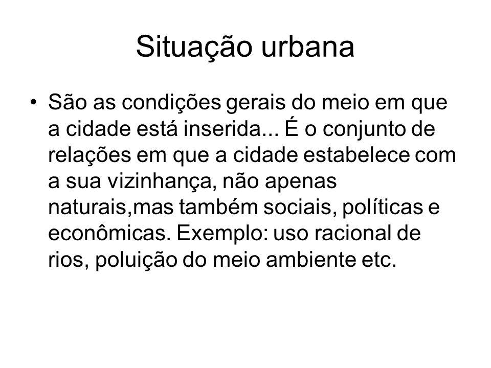 Situação urbana São as condições gerais do meio em que a cidade está inserida... É o conjunto de relações em que a cidade estabelece com a sua vizinha