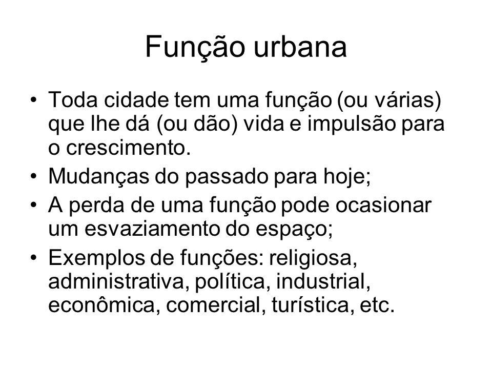 Função urbana Toda cidade tem uma função (ou várias) que lhe dá (ou dão) vida e impulsão para o crescimento. Mudanças do passado para hoje; A perda de