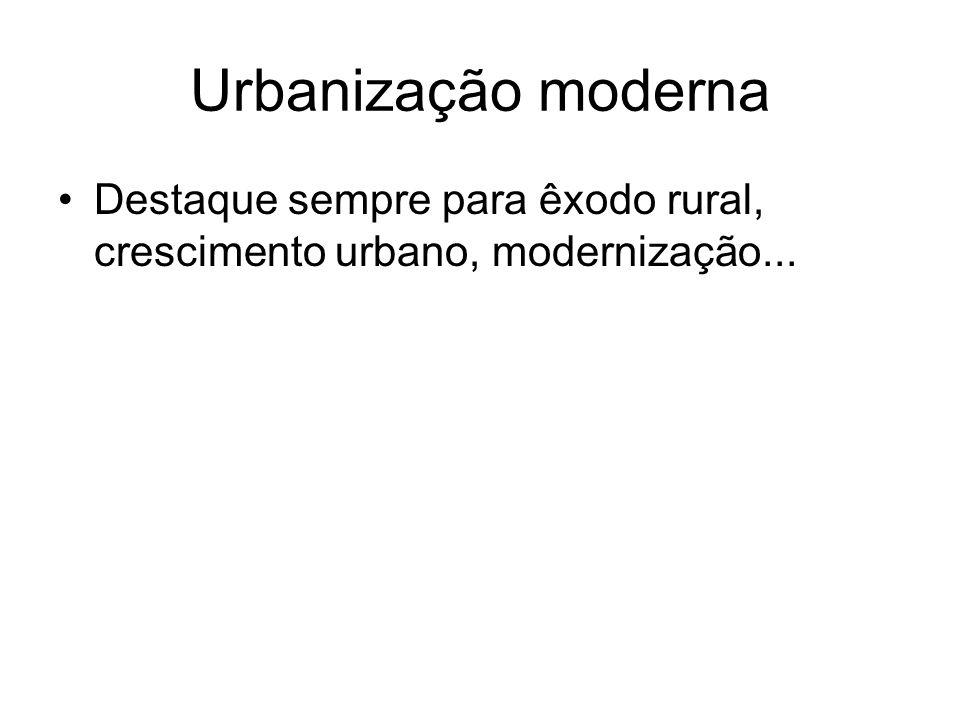 Urbanização moderna Destaque sempre para êxodo rural, crescimento urbano, modernização...