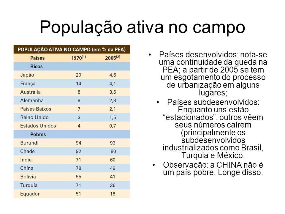 População ativa no campo Países desenvolvidos: nota-se uma continuidade da queda na PEA; a partir de 2005 se tem um esgotamento do processo de urbaniz