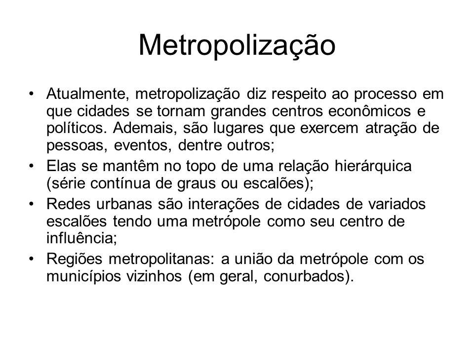 Metropolização Atualmente, metropolização diz respeito ao processo em que cidades se tornam grandes centros econômicos e políticos. Ademais, são lugar