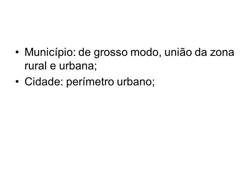 Município: de grosso modo, união da zona rural e urbana; Cidade: perímetro urbano;