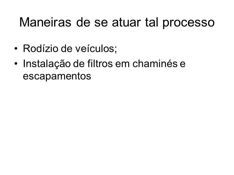 Maneiras de se atuar tal processo Rodízio de veículos; Instalação de filtros em chaminés e escapamentos