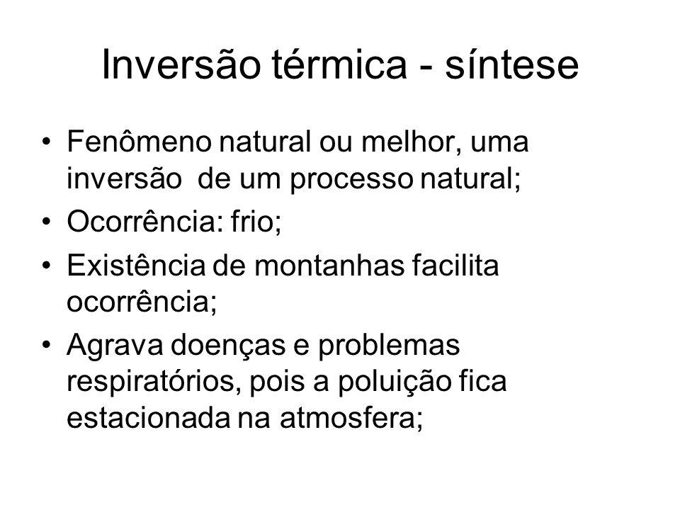 Inversão térmica - síntese Fenômeno natural ou melhor, uma inversão de um processo natural; Ocorrência: frio; Existência de montanhas facilita ocorrên
