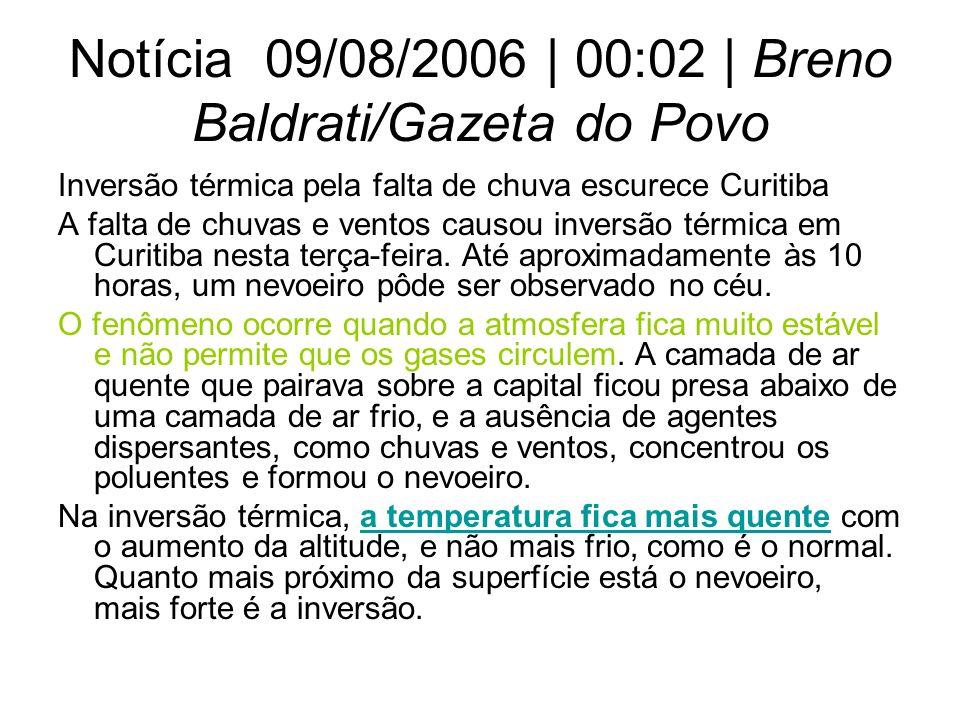 Notícia 09/08/2006 | 00:02 | Breno Baldrati/Gazeta do Povo Inversão térmica pela falta de chuva escurece Curitiba A falta de chuvas e ventos causou in