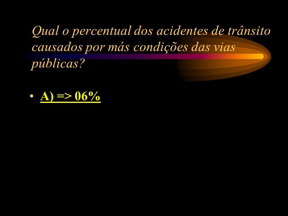 Qual o percentual dos acidentes de trânsito causados por más condições das vias públicas? A) => 06% B) => 04% C) => 10% D) => 15%