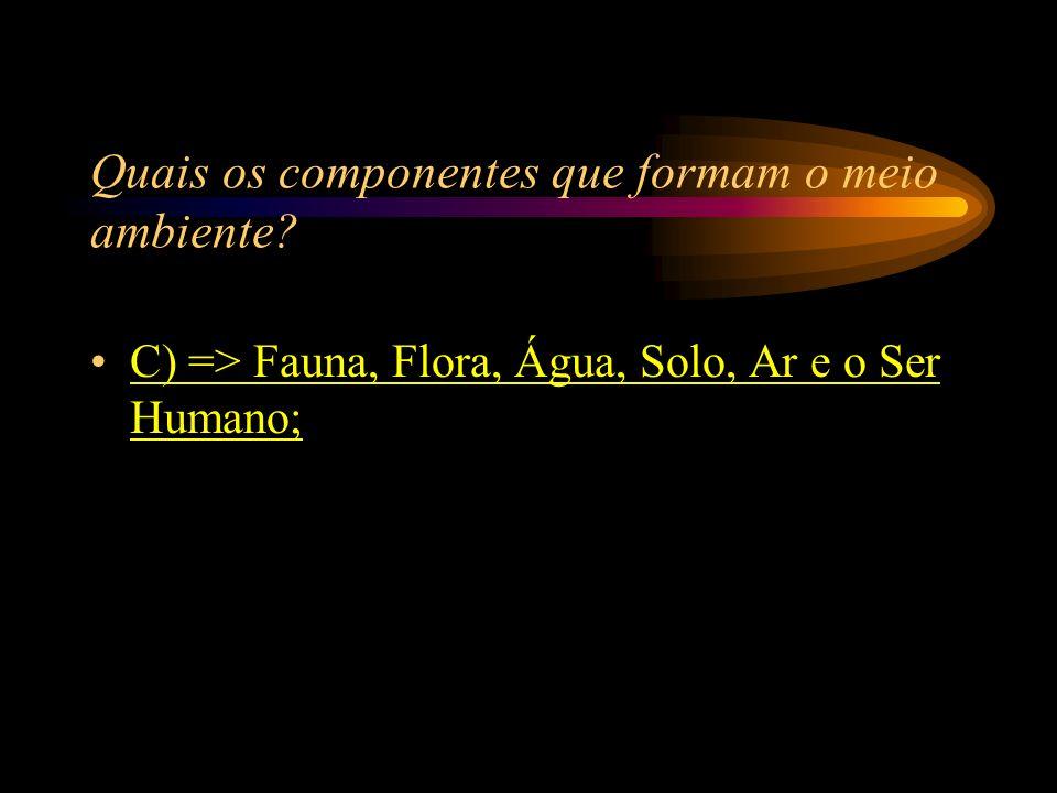 Quais os componentes que formam o meio ambiente? A) => Fósforo, Potássio, Urânio, Plantas e o Gelo; B) => Florestas, Mares, Peixes, O Homem, Ar e Chuv