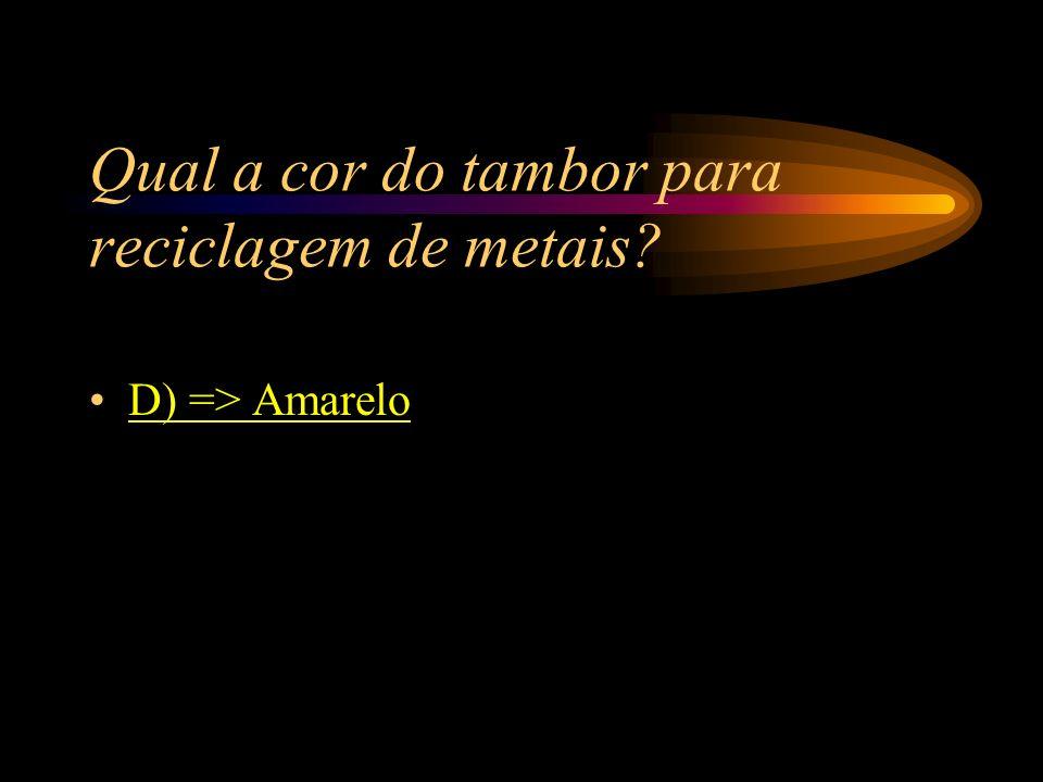 Qual a cor do tambor para reciclagem de metais? A) => Abóbora; B) => Verde; C) => Vermelho; D) => Amarelo