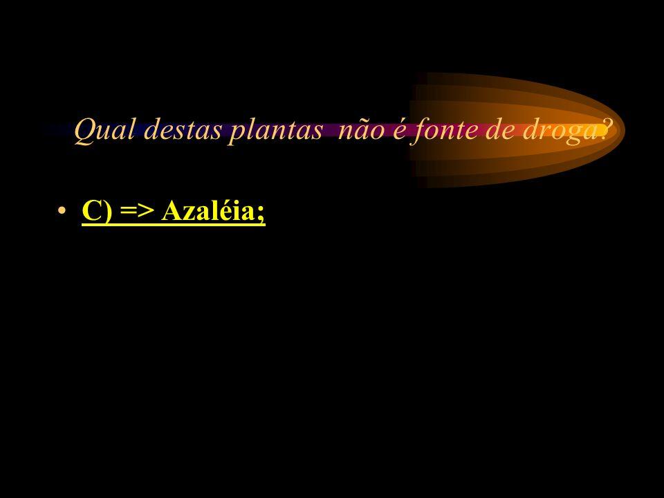 Qual destas plantas não é fonte de droga? A) => canabis sativa; B) => epadú; C) => Azaléia; D) => papoula.