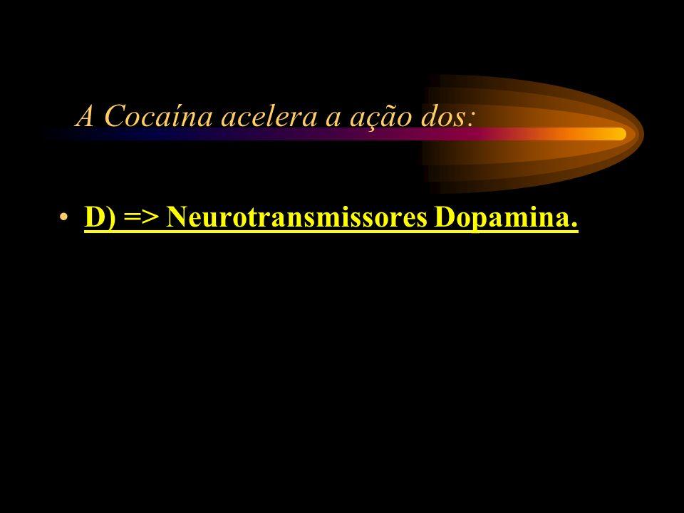 A Cocaína acelera a ação dos: A) => Membros superiores; B) => Membros inferiores; C) => Rins; D) => Neurotransmissores dopamina.