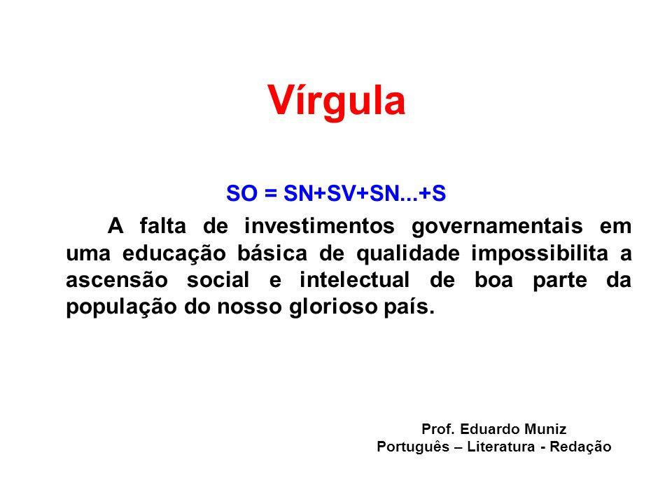 Vírgula SO = SN+SV+SN...+S A falta de investimentos governamentais em uma educação básica de qualidade impossibilita a ascensão social e intelectual d