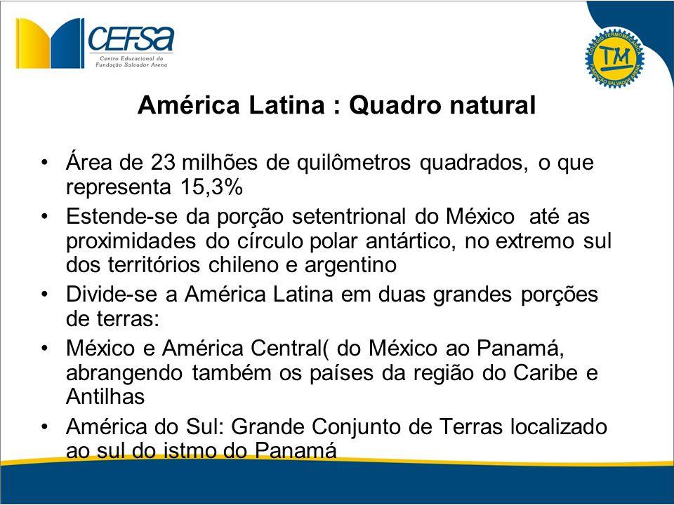 América Latina : Quadro natural Área de 23 milhões de quilômetros quadrados, o que representa 15,3% Estende-se da porção setentrional do México até as