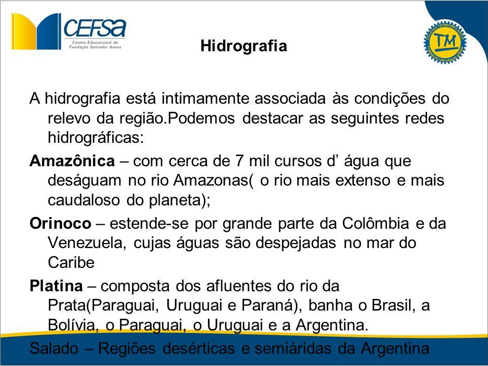 Hidrografia A hidrografia está intimamente associada às condições do relevo da região.Podemos destacar as seguintes redes hidrográficas: Amazônica – c