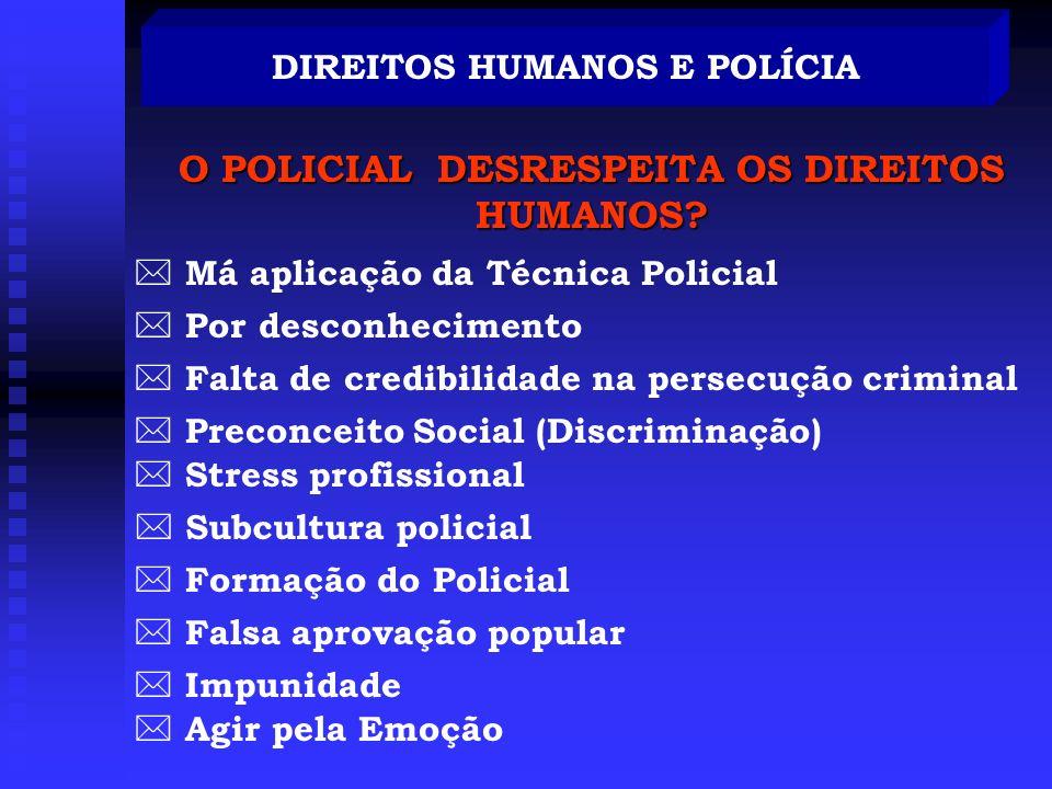 DIREITOS HUMANOS E POLÍCIA POLÍCIA Prevenir,detectar e reprimir o Crime Manter a ordem social Quando a polícia viola a lei, com o intuito de aplica-lá