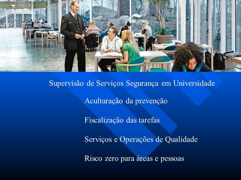 Supervisão de Serviços Segurança em Universidade Aculturação da prevenção Fiscalização das tarefas Serviços e Operações de Qualidade Risco zero para áreas e pessoas