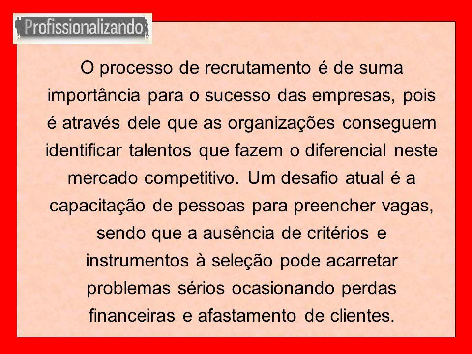 O processo de recrutamento é de suma importância para o sucesso das empresas, pois é através dele que as organizações conseguem identificar talentos q