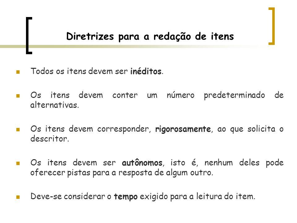 Diretrizes para a redação de itens Todos os itens devem ser inéditos. Os itens devem conter um número predeterminado de alternativas. Os itens devem c