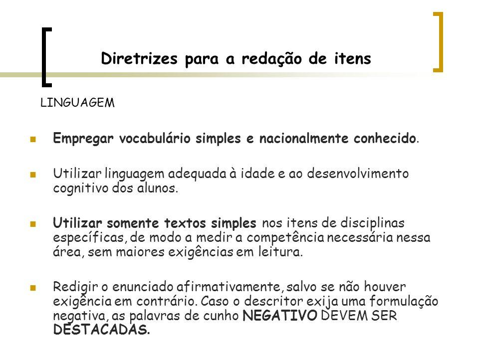 Diretrizes para a redação de itens Empregar vocabulário simples e nacionalmente conhecido. Utilizar linguagem adequada à idade e ao desenvolvimento co