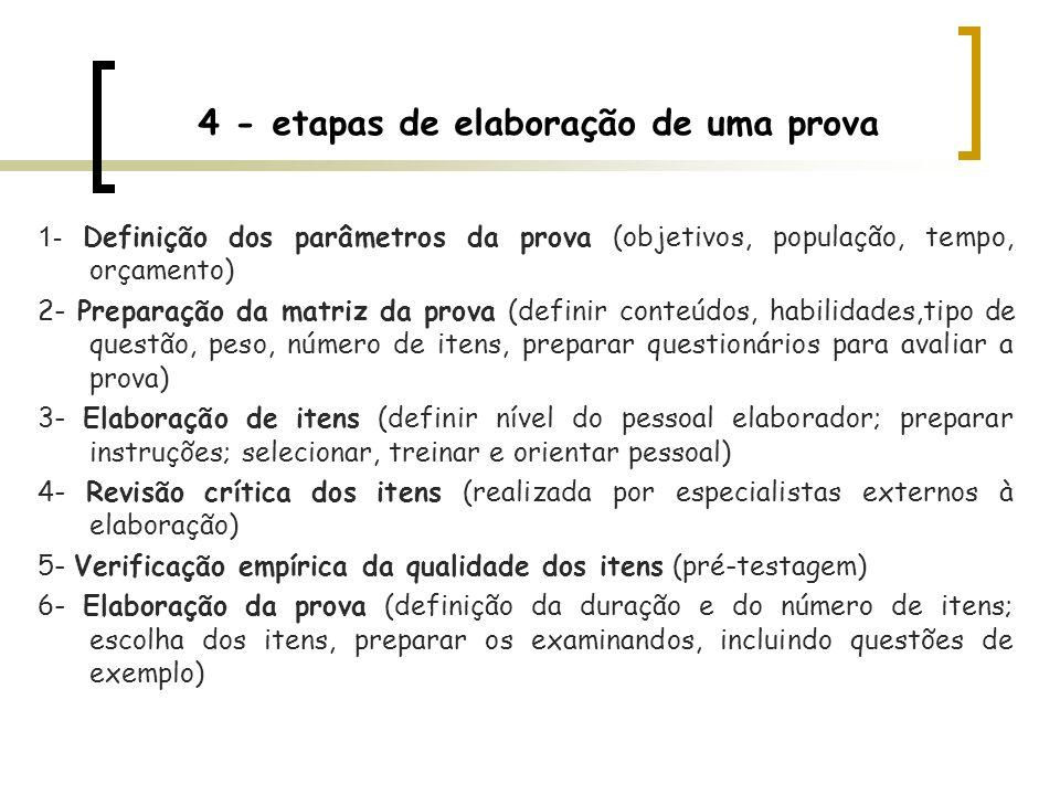 4 - etapas de elaboração de uma prova 1- Definição dos parâmetros da prova (objetivos, população, tempo, orçamento) 2- Preparação da matriz da prova (