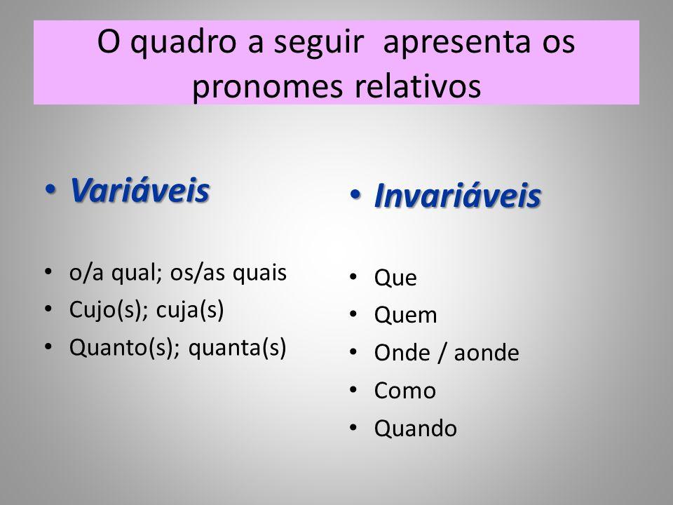 O quadro a seguir apresenta os pronomes relativos Variáveis Variáveis o/a qual; os/as quais Cujo(s); cuja(s) Quanto(s); quanta(s) Invariáveis Invariáv