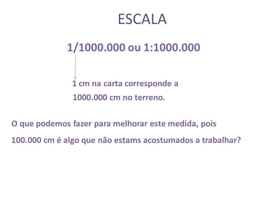 ESCALA A escala gráfica pode ser calculada da seguinte forma: E = d ( distância no mapa ou carta ) D ( distância no terreno ) E = 1 100.000