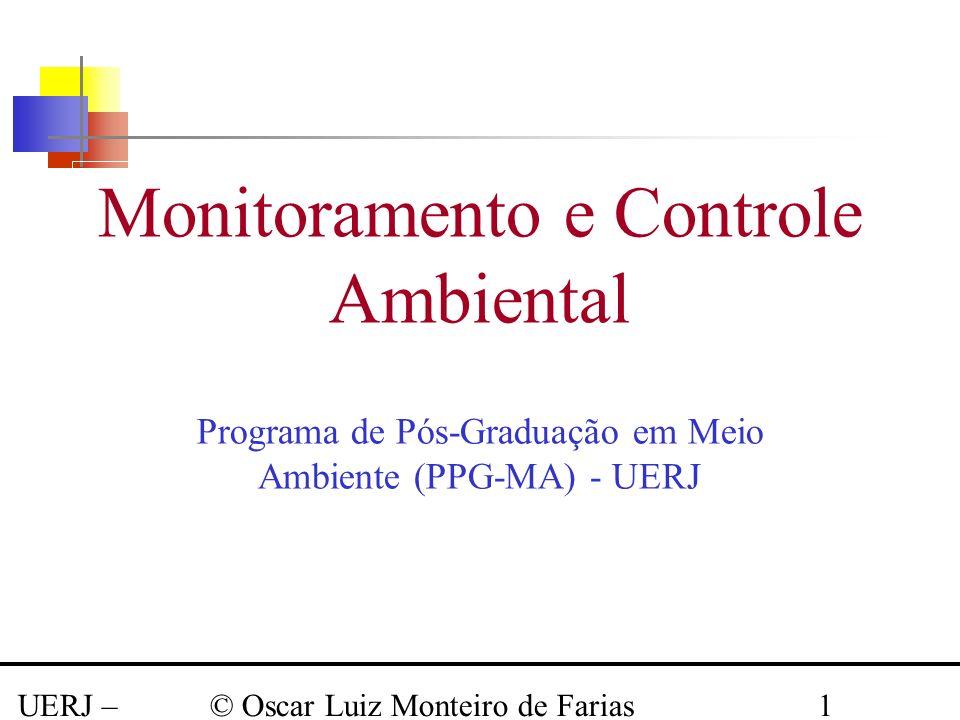 UERJ – Março 2008 © Oscar Luiz Monteiro de Farias1 Monitoramento e Controle Ambiental Programa de Pós-Graduação em Meio Ambiente (PPG-MA) - UERJ