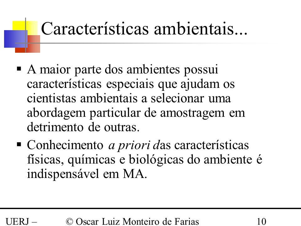 UERJ – Março 2008 © Oscar Luiz Monteiro de Farias10 Características ambientais... A maior parte dos ambientes possui características especiais que aju