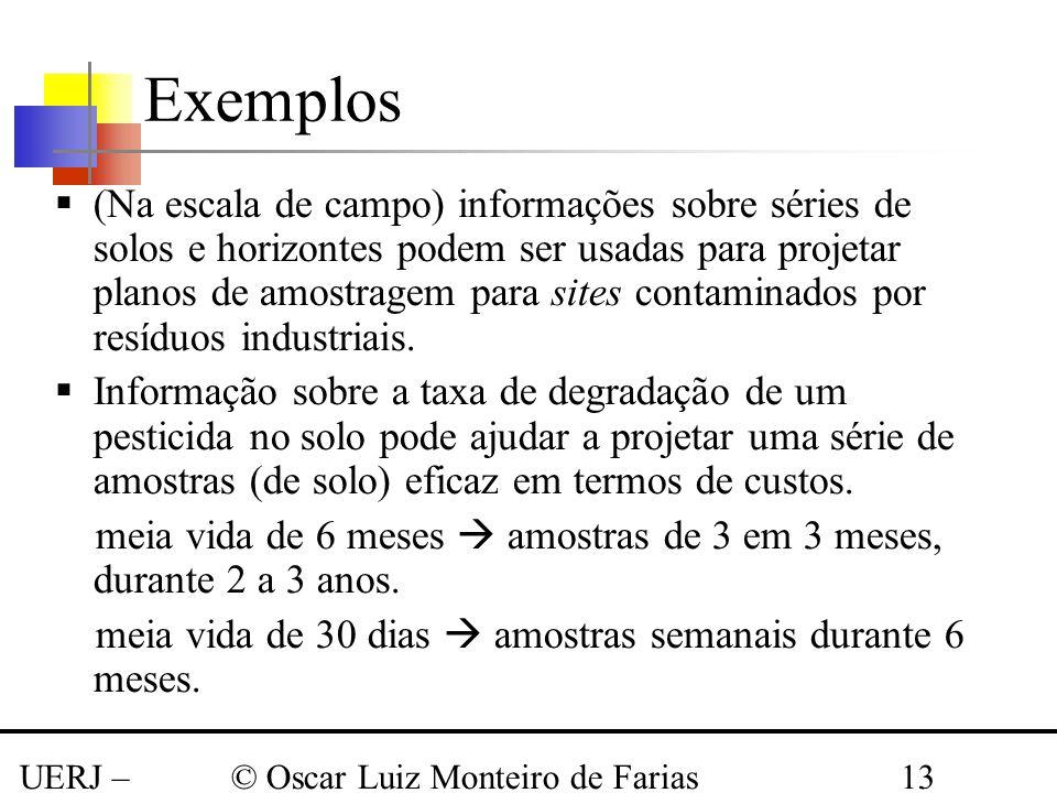 UERJ – Março 2008 © Oscar Luiz Monteiro de Farias13 Exemplos (Na escala de campo) informações sobre séries de solos e horizontes podem ser usadas para