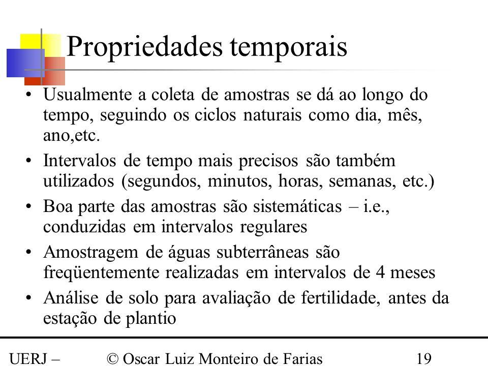 UERJ – Março 2008 © Oscar Luiz Monteiro de Farias19 Propriedades temporais Usualmente a coleta de amostras se dá ao longo do tempo, seguindo os ciclos
