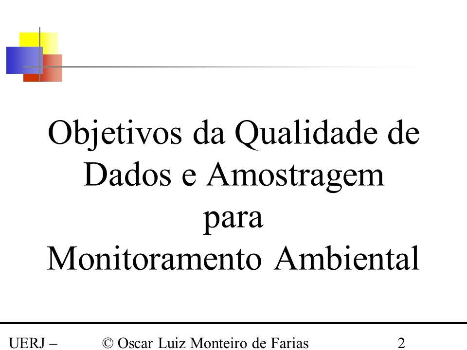 UERJ – Março 2008 © Oscar Luiz Monteiro de Farias2 Objetivos da Qualidade de Dados e Amostragem para Monitoramento Ambiental