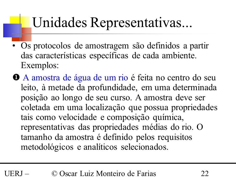 UERJ – Março 2008 © Oscar Luiz Monteiro de Farias22 Os protocolos de amostragem são definidos a partir das características específicas de cada ambient