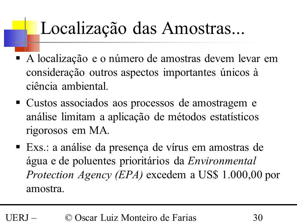 UERJ – Março 2008 © Oscar Luiz Monteiro de Farias30 A localização e o número de amostras devem levar em consideração outros aspectos importantes único