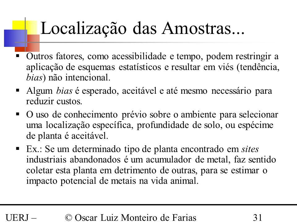 UERJ – Março 2008 © Oscar Luiz Monteiro de Farias31 Outros fatores, como acessibilidade e tempo, podem restringir a aplicação de esquemas estatísticos