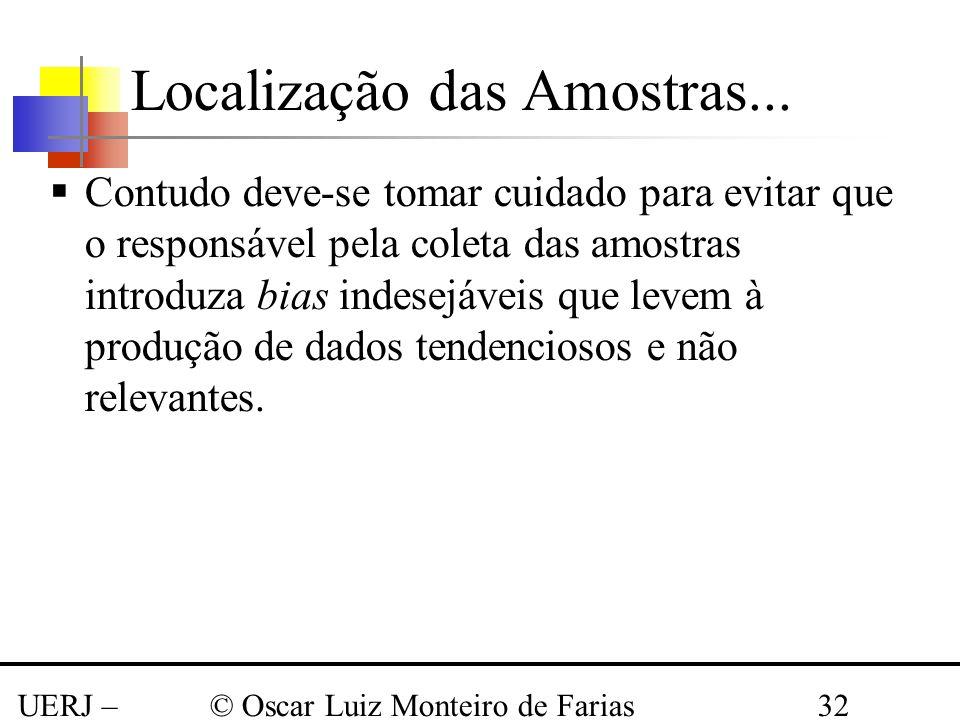 UERJ – Março 2008 © Oscar Luiz Monteiro de Farias32 Contudo deve-se tomar cuidado para evitar que o responsável pela coleta das amostras introduza bia