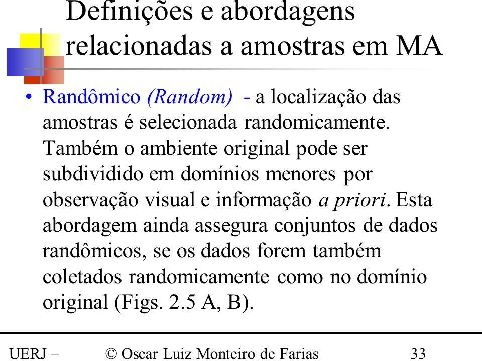 UERJ – Março 2008 © Oscar Luiz Monteiro de Farias33 Definições e abordagens relacionadas a amostras em MA Randômico (Random) - a localização das amost