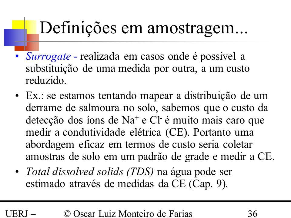 UERJ – Março 2008 © Oscar Luiz Monteiro de Farias36 Surrogate - realizada em casos onde é possível a substituição de uma medida por outra, a um custo