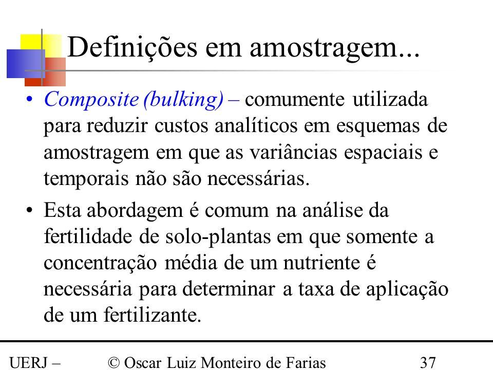 UERJ – Março 2008 © Oscar Luiz Monteiro de Farias37 Composite (bulking) – comumente utilizada para reduzir custos analíticos em esquemas de amostragem