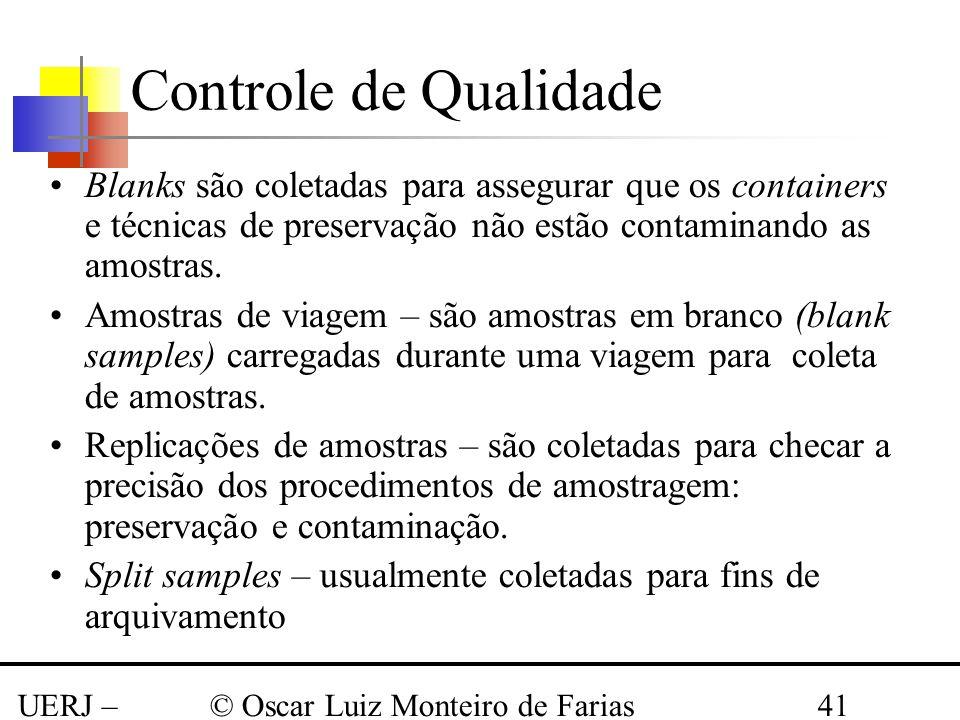 UERJ – Março 2008 © Oscar Luiz Monteiro de Farias41 Controle de Qualidade Blanks são coletadas para assegurar que os containers e técnicas de preserva