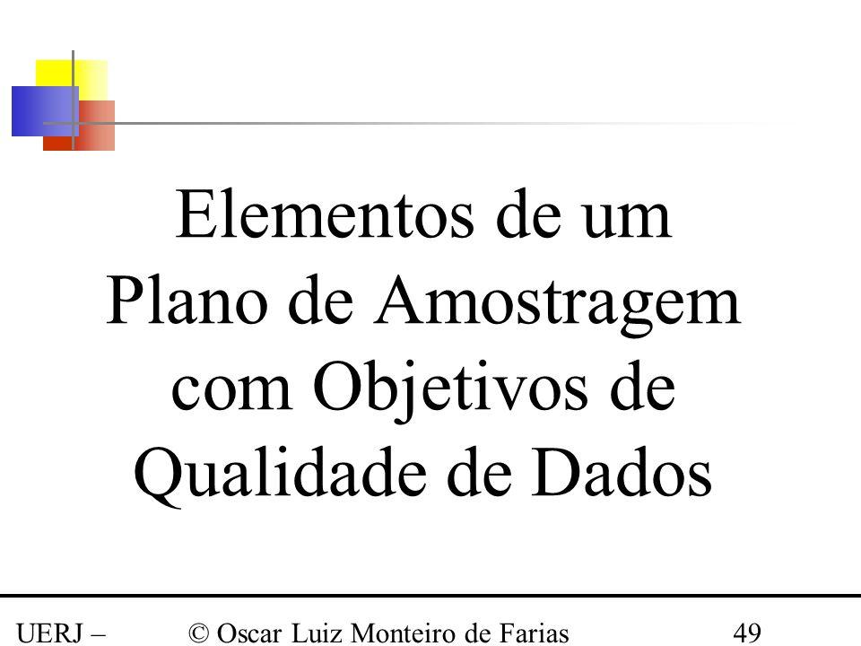 UERJ – Março 2008 © Oscar Luiz Monteiro de Farias49 Elementos de um Plano de Amostragem com Objetivos de Qualidade de Dados