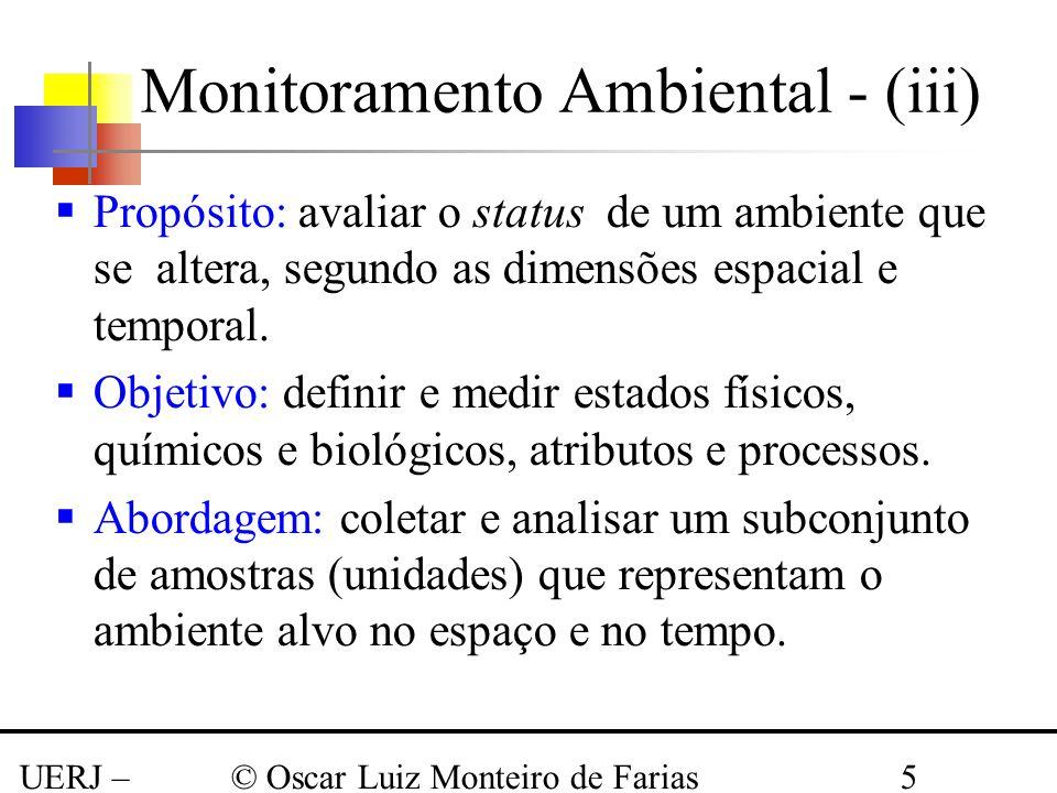 UERJ – Março 2008 © Oscar Luiz Monteiro de Farias5 Monitoramento Ambiental - (iii) Propósito: avaliar o status de um ambiente que se altera, segundo a